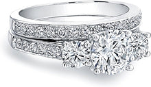Load image into Gallery viewer, Three Stone Round Diamond Engagment Ring w/ Pave Band