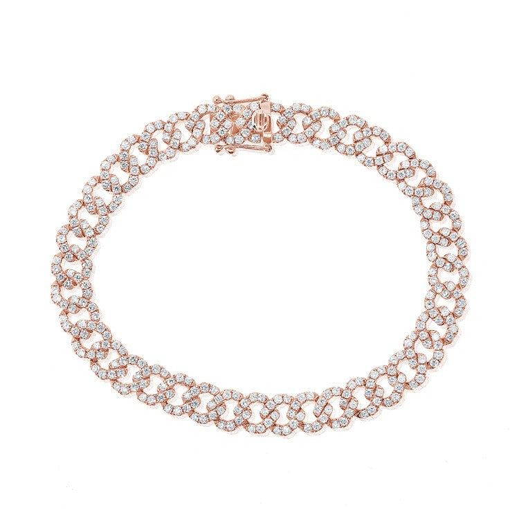 14k Rose Gold Diamond Link Bracelet