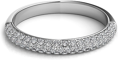 Triple Row Pave-Set Diamond Wedding Band