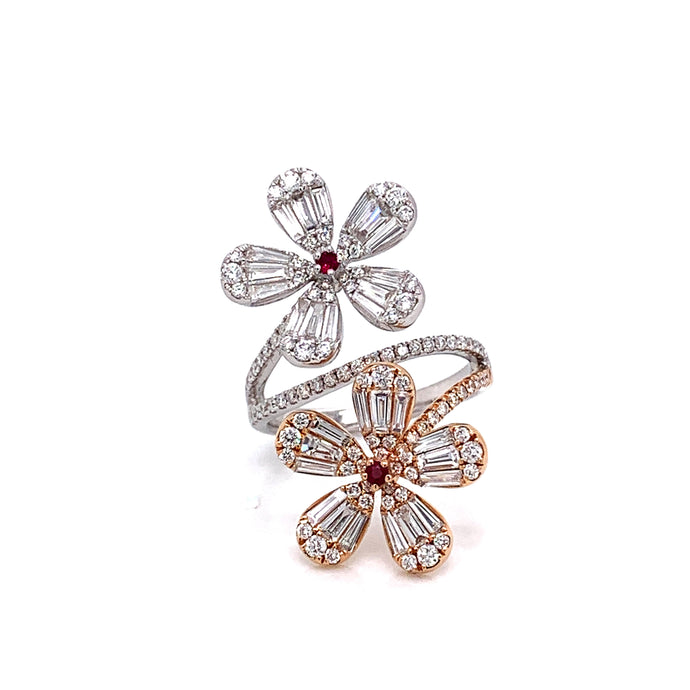 14k Rose and White Gold Diamond Flower Ring