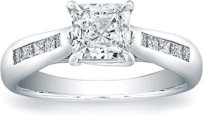 Vatche Channel-Set Princess Tapered X Prong Engagement Ring