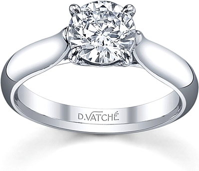 Vatche Solitaire Tapered X Prong Engagement Ring