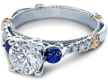 Load image into Gallery viewer, Verragio Diamond and Sapphire Engagement Ring