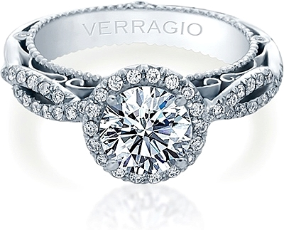 Verragio Venetian Collection Pave Diamond Engagement Ring With Halo