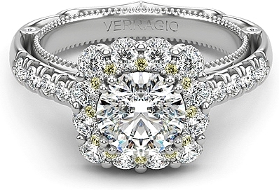 Verragio Yellow Diamond Halo Diamond Engagement Ring