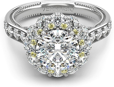 Verragio Yellow Diamond Halo Engagement Ring
