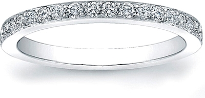 Wedding Band with Pave-Set Round Diamonds- 1/3ct tw