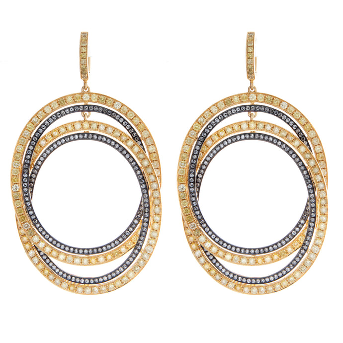 yellow and gray diamond double hoop earrings