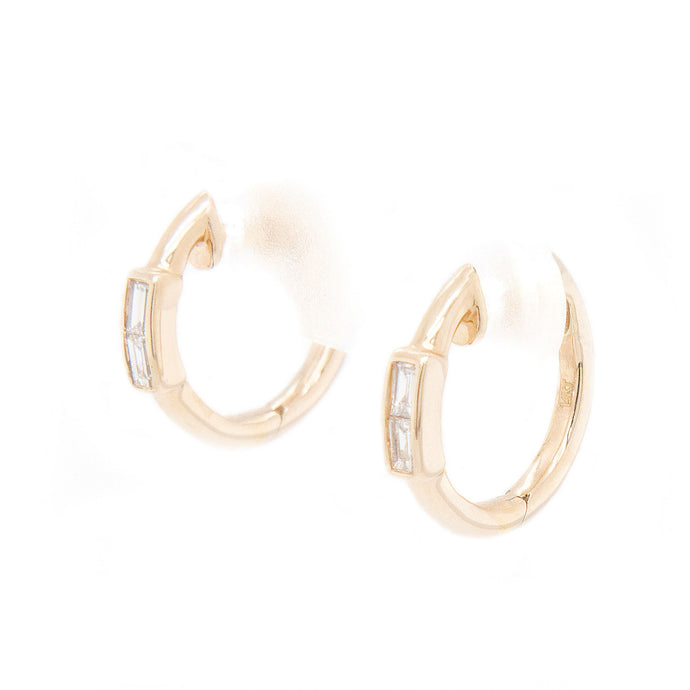 14k Yellow Gold Huggy Earrings With Baguette Diamonds