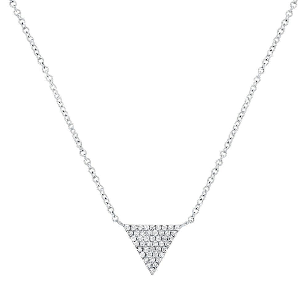 14k White Gold Diamond Triangle Necklace