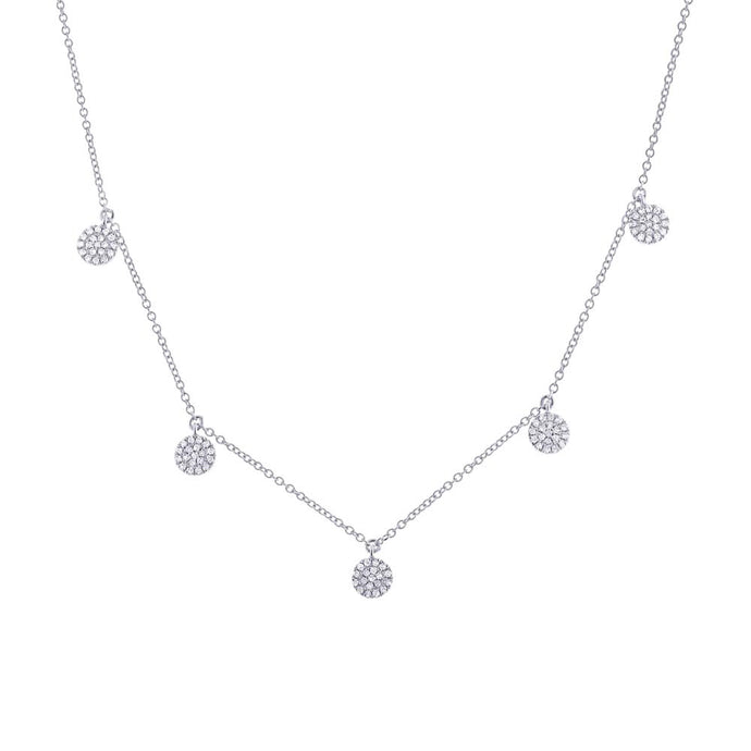 14k White Gold Diamond Drop Necklace