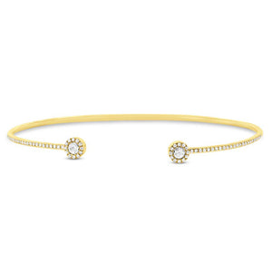 14k Yellow Gold Diamond Cuff Bracelet