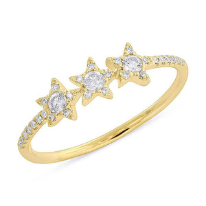 14k Yellow Gold Diamond Star Ring
