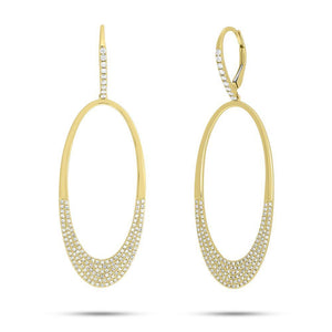 14k Yellow Gold Diamond Oval Earrings
