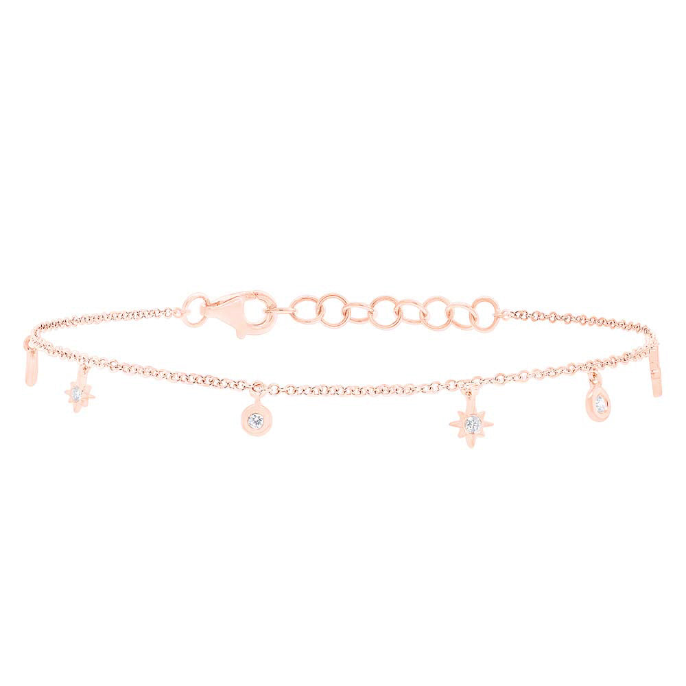 14k Rose Gold Diamond Star Bracelet