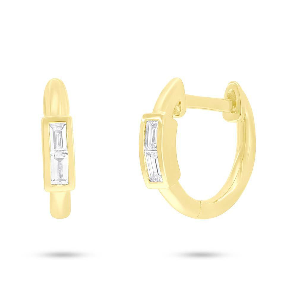 14k Yellow Gold Diamond Baguette Huggy Earrings