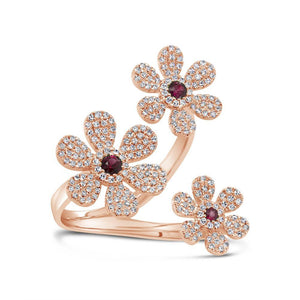 14k Rose Gold Diamond & Ruby Flower Ring