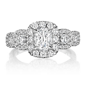Henri Daussi  Halo Diamond Engagement Ring