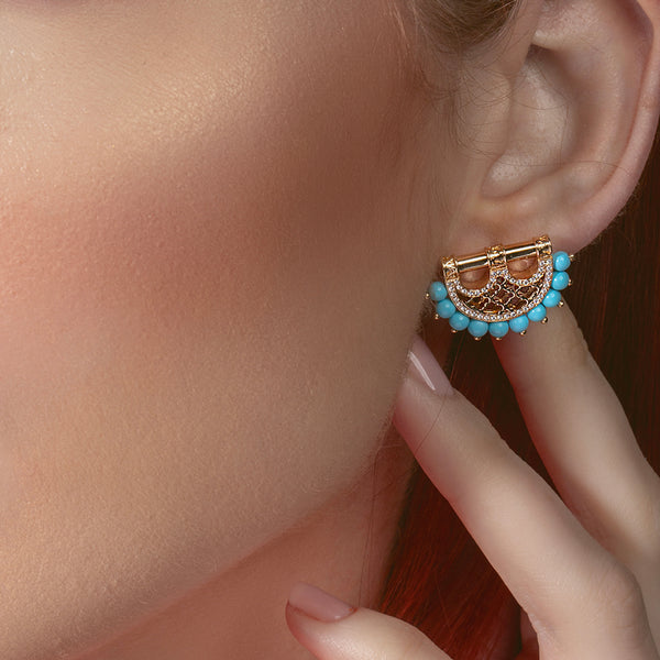 Al Noor Heritage Earrings in Rose Quartz - Misk Dubai