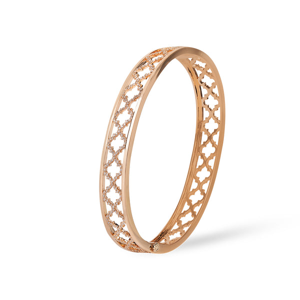 Al Noor Lace Signature Bangle in Diamonds & Rose Gold