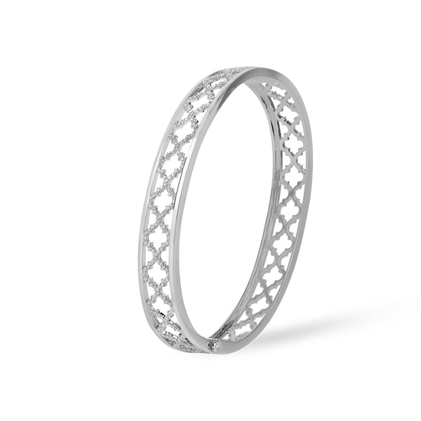 Al Noor Lace Signature Bangle in Diamonds & White Gold