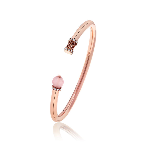 Al Noor Heritage Bangle in Rose Quartz - Misk Dubai