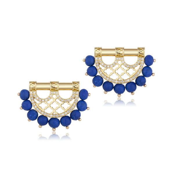 Al Noor Heritage Earrings in Lapis Lazuli - Misk Dubai