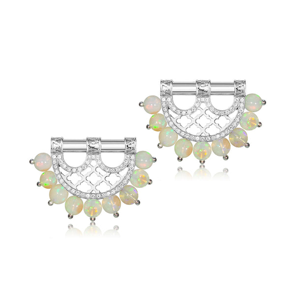 Al Noor Heritage Earrings in Opal - Misk Dubai