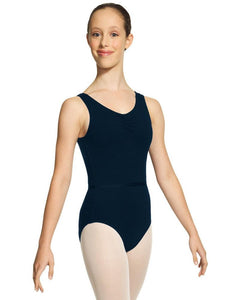 Pinch Front Sleeveless Cotton Leotard