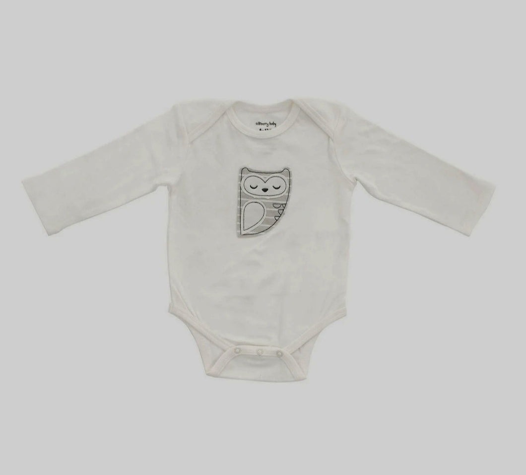 Organic Cotton Long Sleeve Owl Onesie