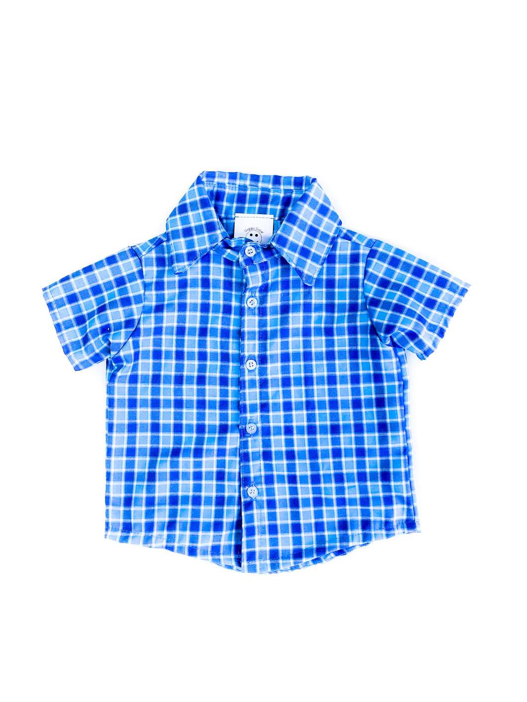 Short Sleeve Collared Plaid Shirt