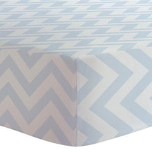 Load image into Gallery viewer, Kushies Crib Sheet-Blue Chevron