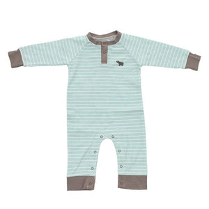 Organic Cotton Long Sleeve Striped Romper