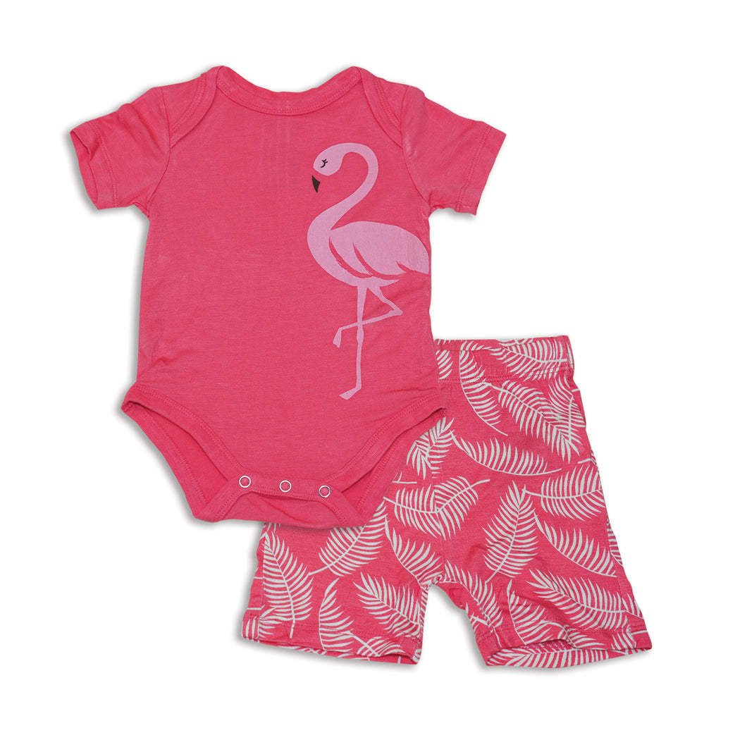 Bamboo Onesie and Short Set-Breezy Leaves