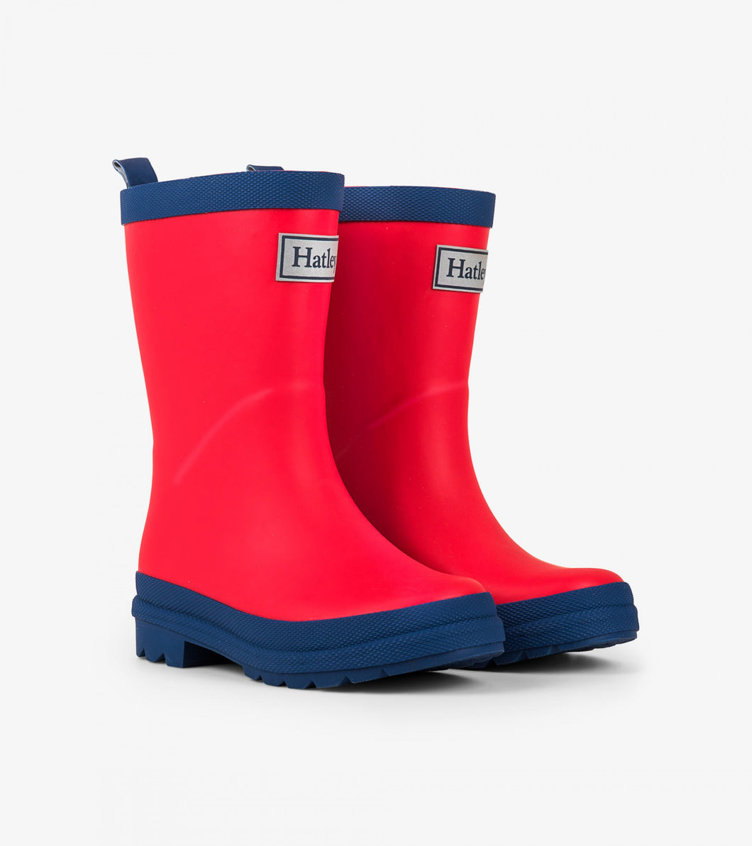 Hatley Red and Navy Rainboots