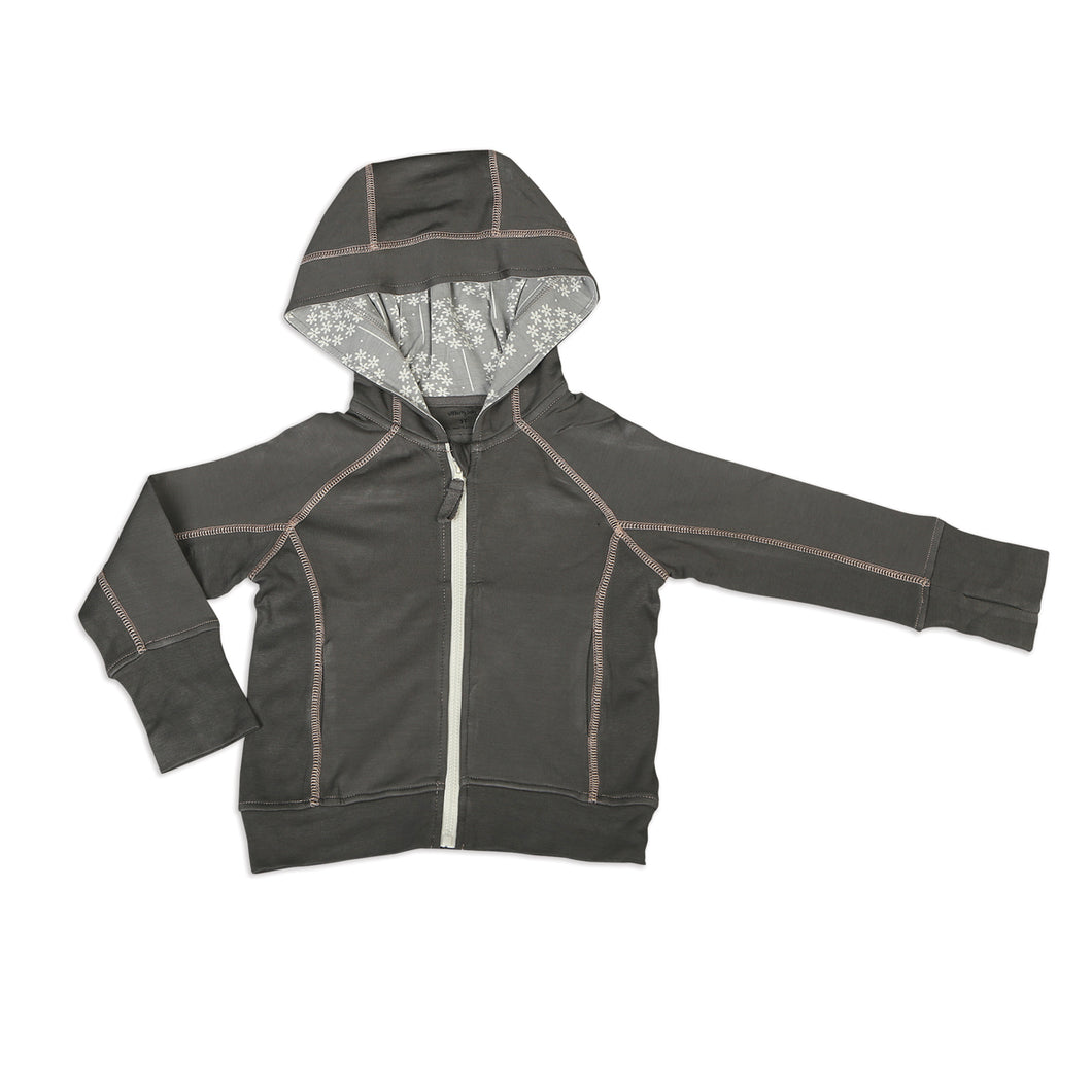 Bamboo Fleece Hooded Jacket-Shady Grey