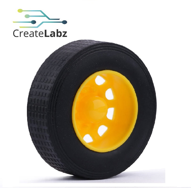 Rubber Wheel, Yellow, 42mm, Recessed Hub, for smart robot car