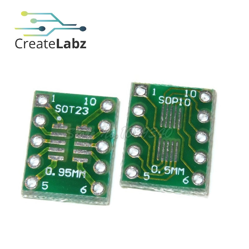 SOT23 to DIP10 and SOP10 to DIP10 Converter Adapter Board