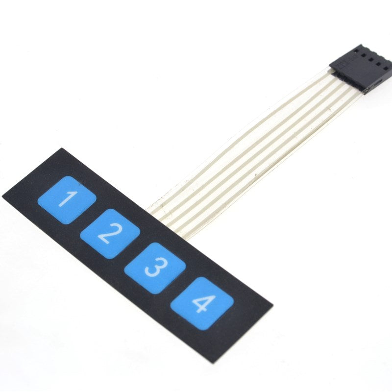 4-Key Right Angle Button Membrane Switch 1x4 Keypad