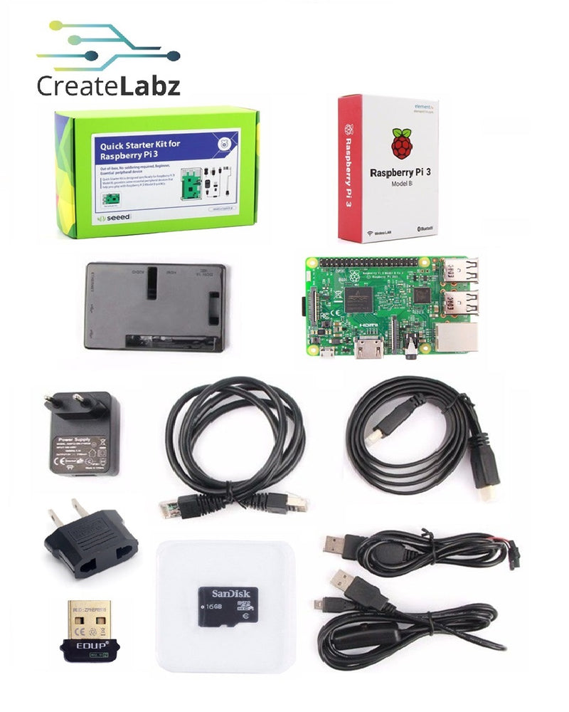 Raspberry Pi 3 Quick Starter Kit - RPi 3 model B included