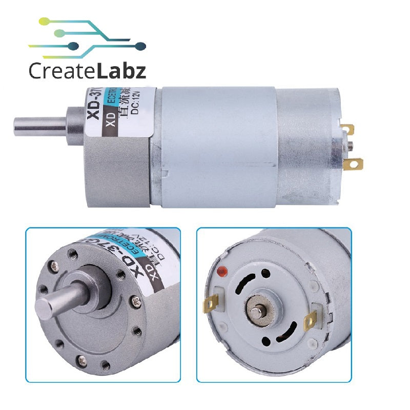DC Gear Motor (12V Geared DC Motor, High Torque, Low Noise, 15W 500rpm, XD-37GB555)