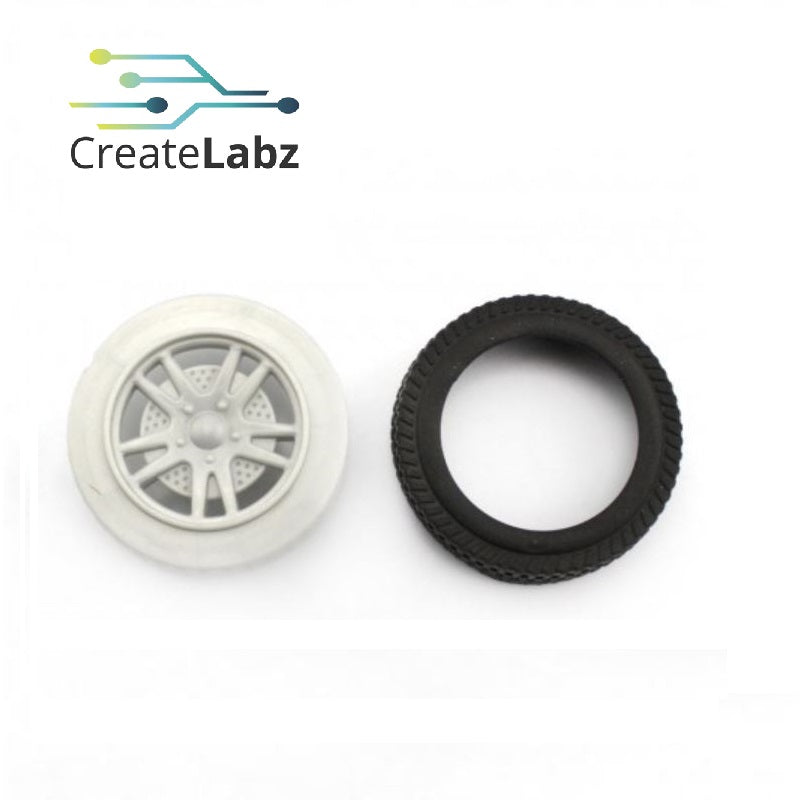 Rubber Wheel, Grey, 3x56mm for smart robot car