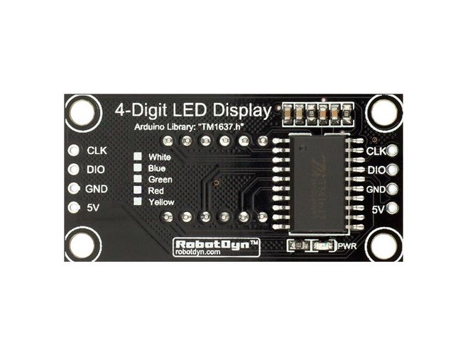 4-Digit LED Display module, 7-segments, TM1637, I2C 30x14mm