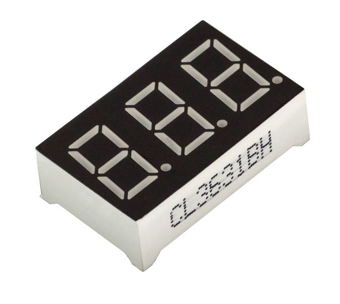 "3-Digit 0.36"" LED, 7-segments display, common-anode"