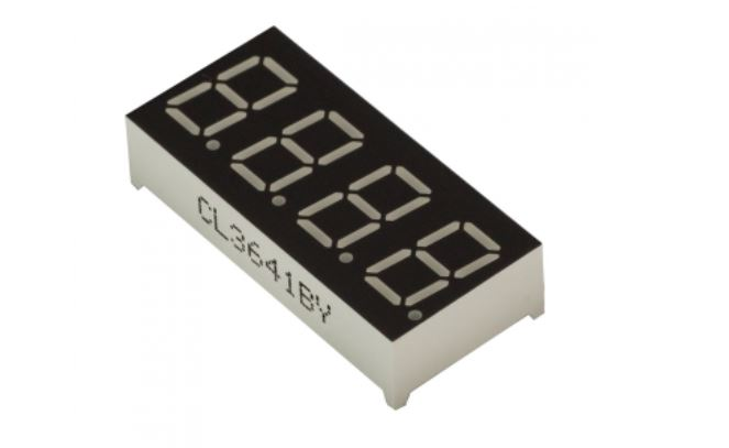 "4-Digit 0.36"" LED, 7-segments display, common-anode"