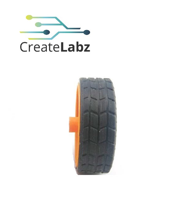 Rubber Wheel, Orange, 30mm, Fine Texture, for smart robot car