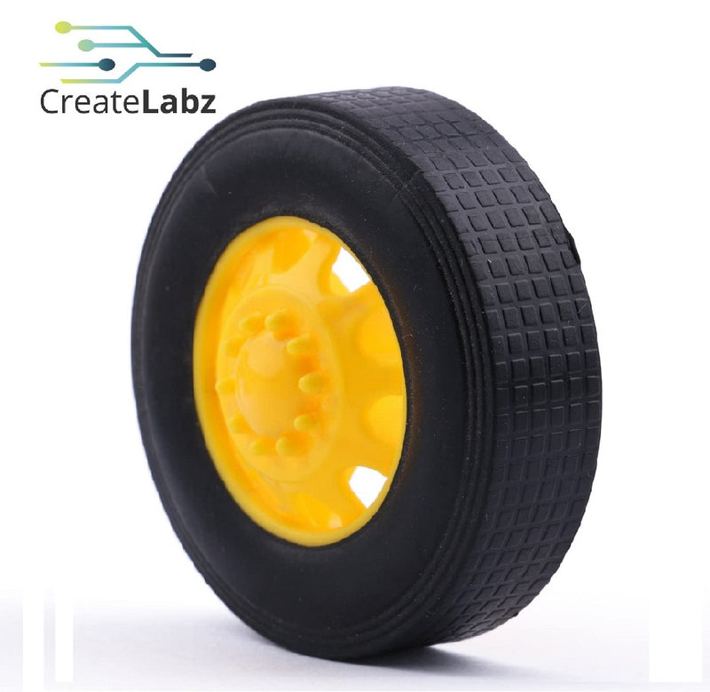 Rubber Wheel, Yellow, 42mm, Convex Hub, for smart robot car