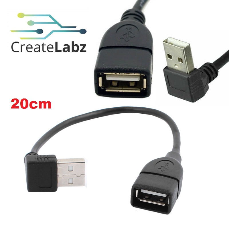 USB 2.0 Type A Male  to Female Adapter 90 Degree Angled Extension Cable 20cm-Up