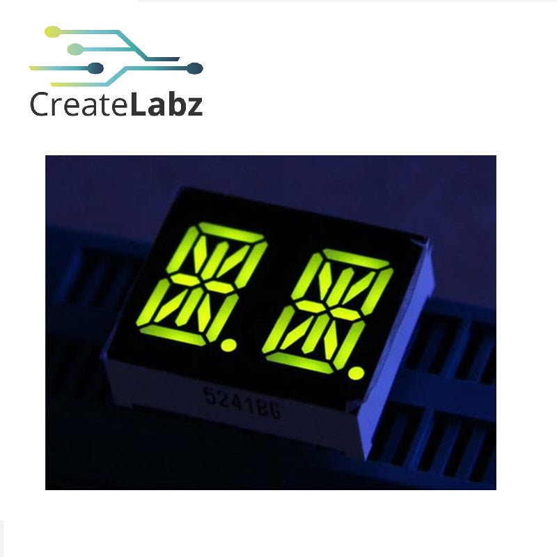 "2-Digit 0.54"" LED  14-segments display, common-anode, yellow-green"