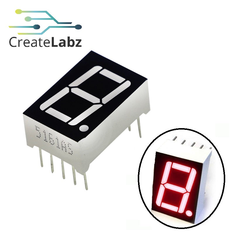 "1-Digit 0.56"" LED, 7-segments display, common-cathode/anode, high-brightness red"
